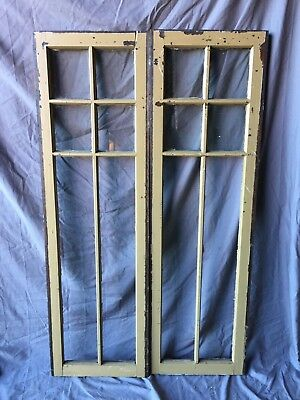 Pair Antique 6 Lite Casement Door Window Cabinet 16X54 Vintage Old 255-18C