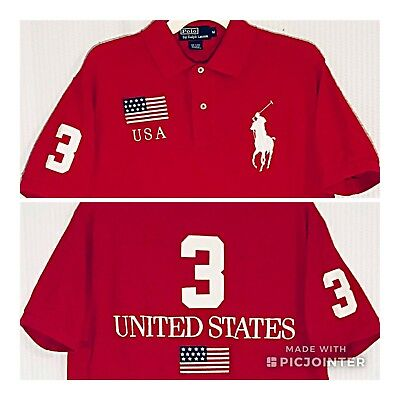 057786ac Vintage Polo Ralph Lauren USA Flag Big Pony Mens Red Rugby Polo Shirt Size M