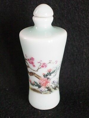 #092 - Porcelain Snuff Bottle - Hand Painted Flowers