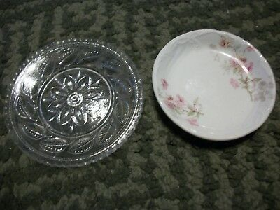 Vintage Butter Pats 2 different Dishes,1 glass,1 Porcelain.Staffordshire England