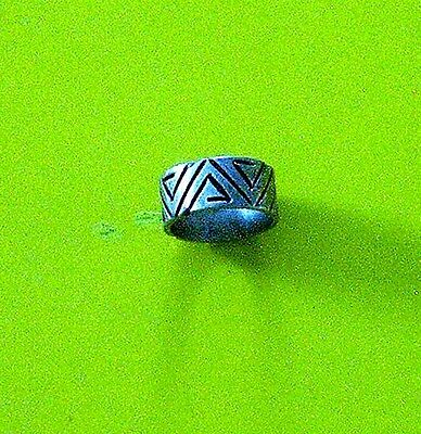 Vintage Handcrafted Heavy Mexican Silver Ring, Geometric Design, Size Unknown