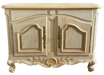 Old French Provincial Louis XV Painted Sideboard Cabinet Credenza Buffet Dresser