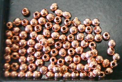 Medium Rose Gold plated 2mm round seamed smooth spacer beads 100 pcs FPB157