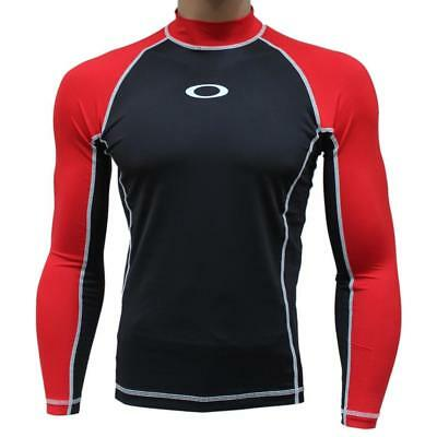 Oakley REFLECTOR LS Red Line Medium Rashie Long Sleeve Mens Swim Surf Rash Vest