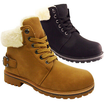 Childrens Boys Girls Fur Lined Low Flat Lace Up Casual Hiking Winter Ankle Boots