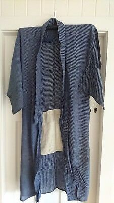Lovely Blue With White Pattern Vintage Japanese Long Kimono