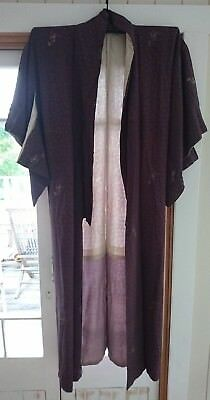 Lovely Brown With Blue & Gold Pattern Vintage Japanese Full Length Kimono