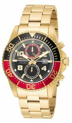 Invicta Men's Pro Diver Chrono 200m Black, Red, Gold Stainless Steel Watch 18518