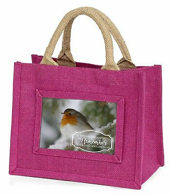 Little Robin Red Breast Little Girls Small Pink Shopping Bag Christm, Robin-1BMP