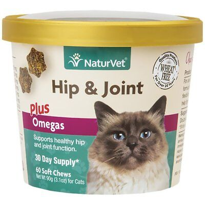 NaturVet Hip and Joint Plus Omega Cat Soft Chew Supplement 60 count