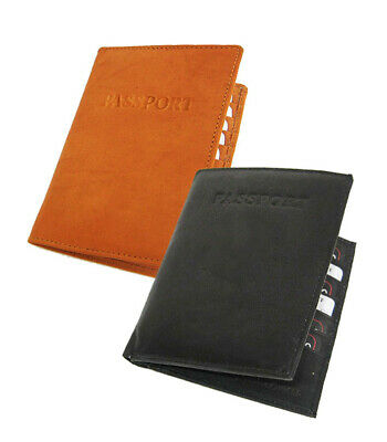 PREMIUM COWHIDE LEATHER PASSPORT COVER Travel Document Card Case Wallet