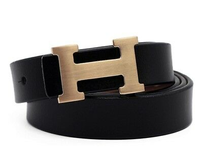 Leather Thin Belts Fashion Womens GOLD H Logo Pattern For Jeans 0.9 NEW