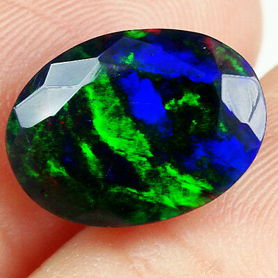 3.1Ct Ethiopian Play Of Color Black Opal Faceted Cut  Natural UQOP2672