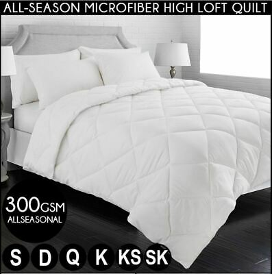 300GSM MICROFIBER QUILT High Loft Doona Duvet Summer Weight Microfibre Cover
