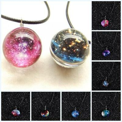 New Dreamy Crystal Ball Star Short Glass Galaxy Pattern Pendant Necklace Jewelry