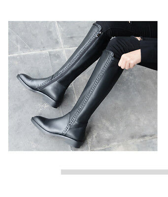 41c1c05809263 New Womens Knee High Riding Leather Boots Side Zip Low Block Heels Casual  Shoes