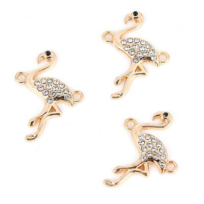 10Pcs Gold Crystal Flamingo Connector Charm DIY Jewelry Ornament Craft Making
