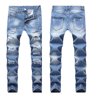 US Mens Casual Ripped Skinny Biker Jeans Destroyed Taped Slim Fit Denim Pants