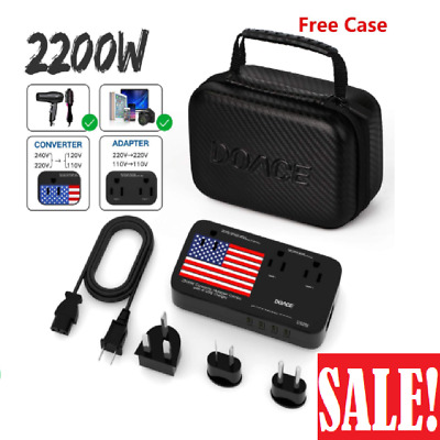 ECOACE 2000W Voltage Converter with 4 USB Ports,Set Down 220V to 110V Power Conv