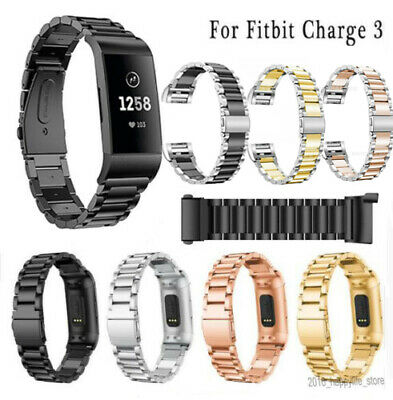Stainless Steel Watch band Strap For Fitbit Charge 3 link bracelet Replacement