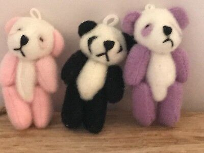 1 x miniature jointed black panda bears dolls house gift bags crafts