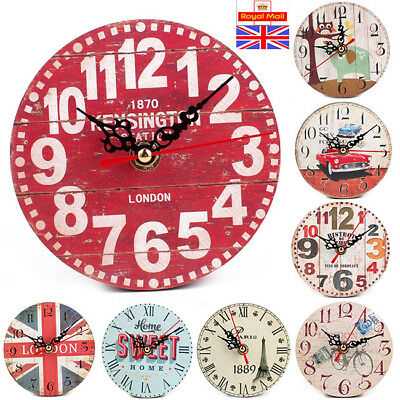 12cm Wooden Wall Clock Shabby Chic Rustic Kitchen Home Decor Antique Style