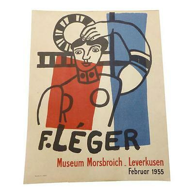 """Antique Fernand LEGER Exhibition Poster 1955 """"The Great Salute"""" Authentic Vtg."""