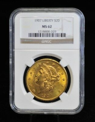 1907 NGC MS62 $20 Gold Liberty Head Double Eagle [10DUD]