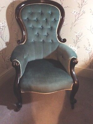 Victorian Button Back Chair/Bedroom Chair. Reupholstered in 1972