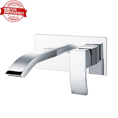 Wall Mounted Basin Mixer Tap Modern Square Single Lever Chromed Solid Brass