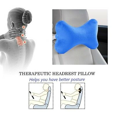 Bone Shape Car Neck Pillow Head Rest Memory Foam Travel Support Cushion Blue