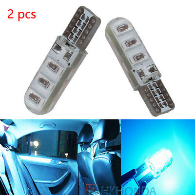 2pc Ice blue T10 6SMD Car Silica Gel LED Wedge Light Plate License 194 2825 Bulb