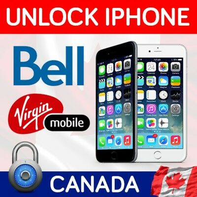 FACTORY UNLOCK SERVICE BELL VIRGIN Canada IPhone , CLEAN only