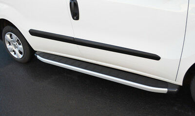 Aluminium Side Steps Bars Running Boards To Fit LWB Fiat Doblo (2010+)