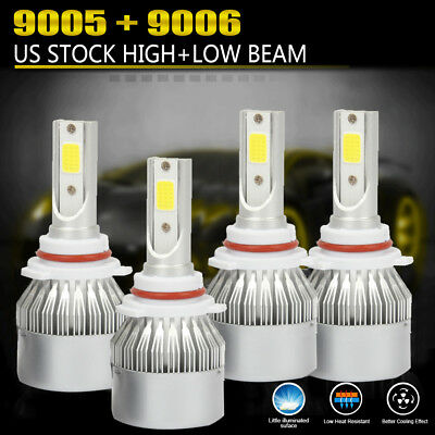 4PCS 9006+9005 LED Headlight 3200W 450000LM Hi-Lo Beam Combo Kit 6000K VS HID