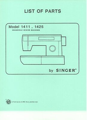Illustrated Parts Manual, CD in PDF Format for Singer 1411 1425 Sewing Machines