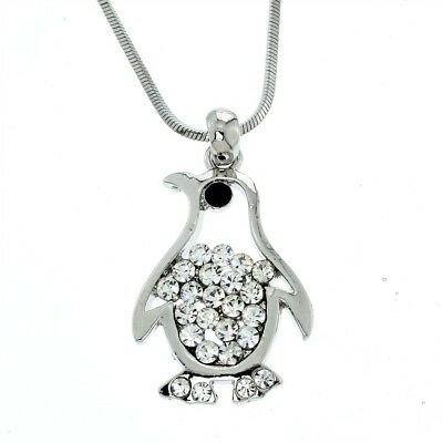 "PENGUIN Pendant Made With Swarovski Crystal Necklace Clear Charm 20"" Chain"