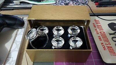 Set of Six Metal Napkin Rings with Jewel, VG to Excellent Condition