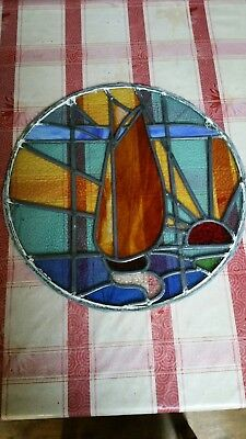 Reclaimed Round Fnt Dr Porthole Stained & Leaded Glass Window Sailing Into The