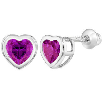 925 Sterling Silver Hot Pink CZ Heart Screw Back Earrings Infants Girls Kids