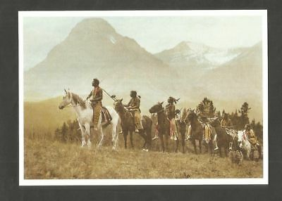 POSTCARD NATIVE AMERICAN AMERICA HORSE WARRIORS BLACKFOOT caballo PFERDE