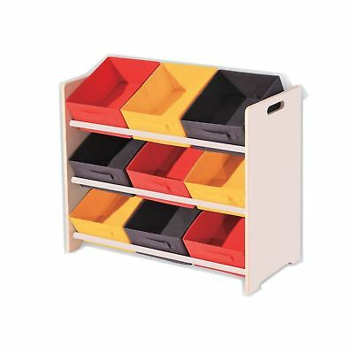 b484812e3200a New 3 Tier 9 Canvas Childrens Toy Storage Unit Kids Shelf Drawer Baskets  Nursery
