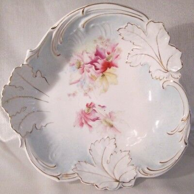 Lovely ANTIQUE Victorian BIG SERVING BOWL Made In Germany VIBRANT FLORALS