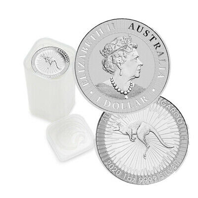 Roll of 25 Silver 2019 Australian Silver Kangaroo 1 Troy oz $1 Coins 1 Mint Tube