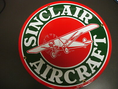 SINCLAIR AIRCRAFT Oil Gas GASOLINE Porcelain Advertising sign...~12""