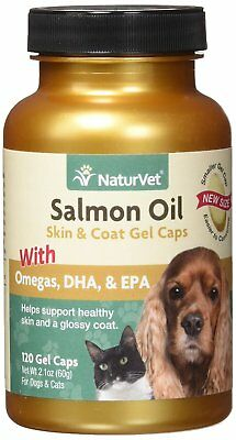 NaturVet Salmon Oil Dog and Cat Easy Gel Caps Healthy Skin Coat Omega 3 - 120 ct