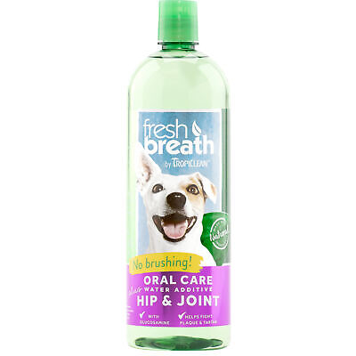 TropiClean Fresh Breath Water Additive Plus Hip Joint Oral Care Dogs 33.8 oz