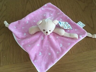 Baby Comforter Pink Teddy Blanket First Steps Bnwt