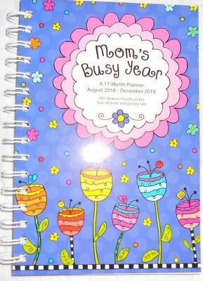 moms busy year 2019 17 month planner with stickers august 2018 december 2019