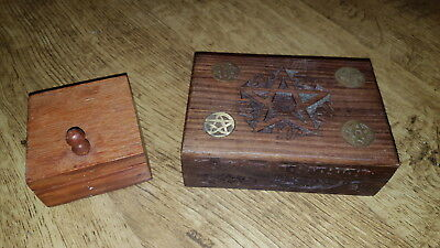 Star Of David Carved Trinket Box Brass Inlay And One Small Vintage Box/ Jewish